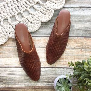 Vintage | Woven Leather Mules Slides